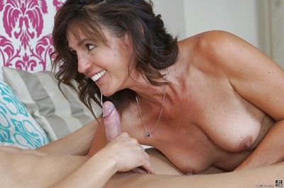 Granny Mariana having bra and panties removed before fucking younger dude