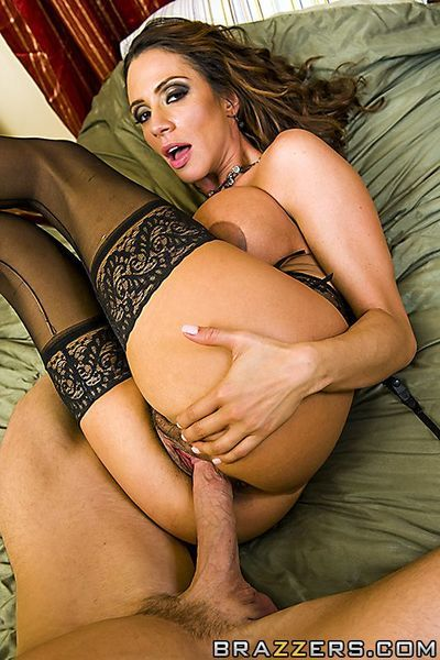 Big racked latina woman Ariella Ferrera in stockings gets her bush fucked by big hard dick
