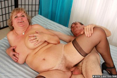 Nylon clad European granny giving head and and riding cock before cumshot