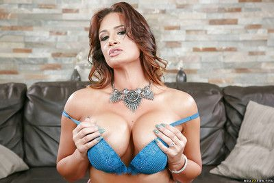 Buxom Latina mom Tory Lane posing nude in sexy stockings and heels