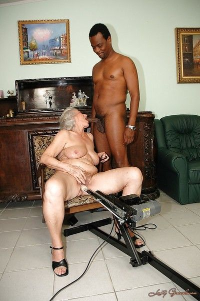 Lustful granny gets her twat nailed by fucking machine and big black cock