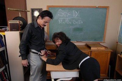 Large boner gets drained by granny teacher Debella\