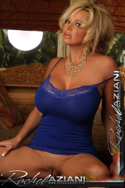Stunning milf beauty Rachel Azianiin blue dress exposes her juggs and touches her snatch