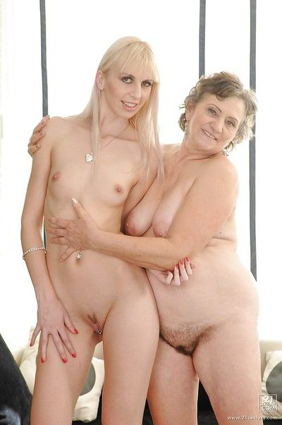 Teenage lesbian has some pussy licking and fingering fun with a lewd granny
