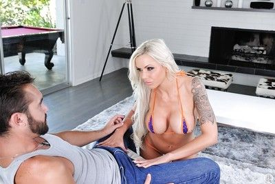 Tattooed blonde mom Nina Elle giving a CFNM blowjob to long penis
