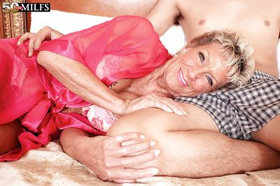 Lustful granny Sandra Ann getting her shaved mature cunt banged hard