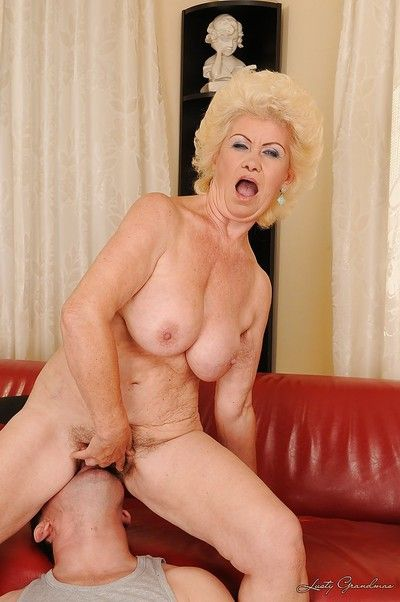 Big busted blonde granny takes a cumshot on her jugs after hardcore twatting