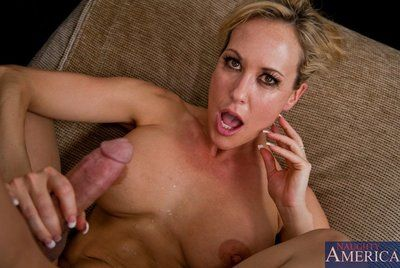 Busty milf in stockings Brandi Love forces young stud into oral and hardcore fuck at the college