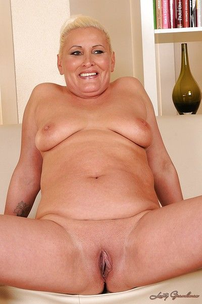 Fatty granny Molly Maria exposes her shaved asshole and pussy