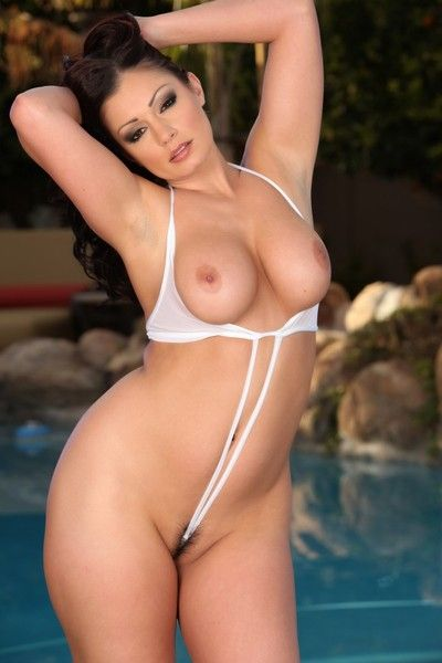 Curvy Aria Giovanni in white bikini shows her juicy tits and meaty pussy