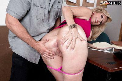 Chubby aged blonde Laura Layne having big boobs loosed and banging big dick