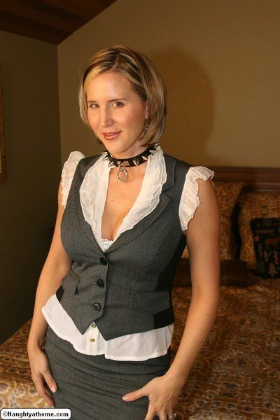 Classy milf in white stockings Desirae Spencer turns around and shows hot doggy