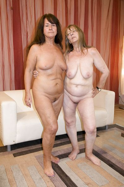 Fat nans Gusti Tschopp and Gerti Berg bare saggy tits before strapon fuck