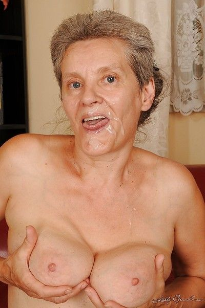 Short-haired granny gets facialized after hardcore twatting