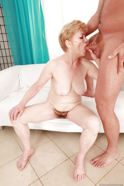 Lusty granny with hairy cunt gives a blowjob and gets shagged hardcore