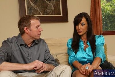 Busty milf in stockings Lisa Ann is playing with big cock expecting for big cum shot