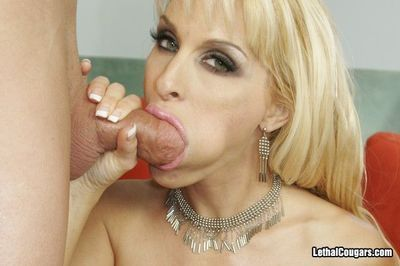 Sperm hungry blonde milf Holly Halston with giant tits gets her shaved pussy slammed