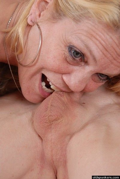 Blonde granny Lori rides cock in reverse cowgirl position and eats cum too