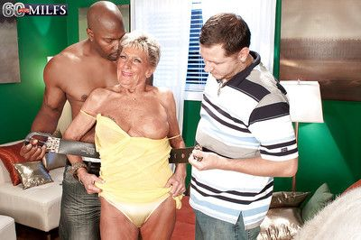 Old MILF Sandra Ann playing with two dicks in hardcore threesome