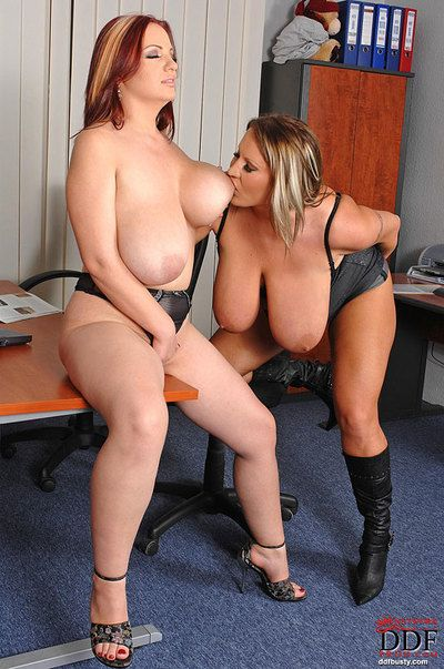 Two fatty mature lesbians with big tits are pleasing each other