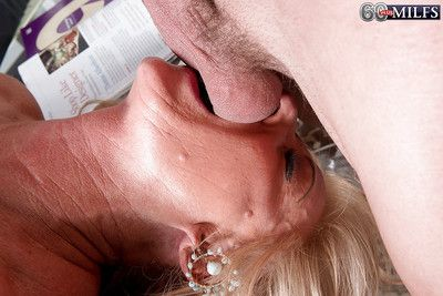 Busty granny Phoenix Skye giving BJ before taking anal in MMF threesome