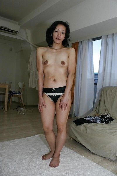 Naughty asian MILF Aya Sakuma undressing and exposing her holes