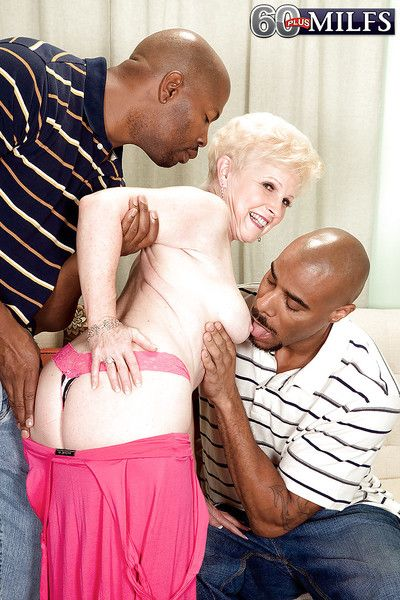 Slutty granny Jewel is into interracial groupsex with two black guys
