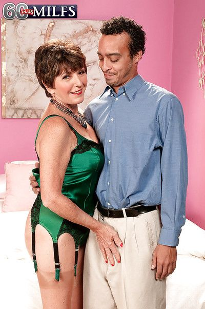Very seductive and sexy granny Bea Cummins got dresses up in expensive green lingerie and then fucked by well hung..