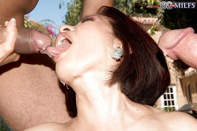 60 plus Asian granny Kim Anh giving large cocks bj outside in MMF threesome