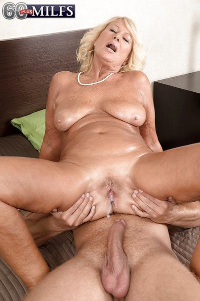 Blonde granny Regi sporting creampie after massage and hardcore fucking