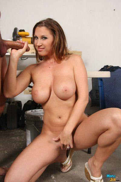 Big breasted milf Devon Lee displays her juicy body during handjob session