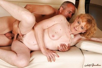 Lascivious granny with flabby titties gets her hairy cunt banged