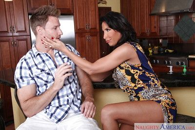 Latina mom Lezley Zen is licking and sucking this tasty prick