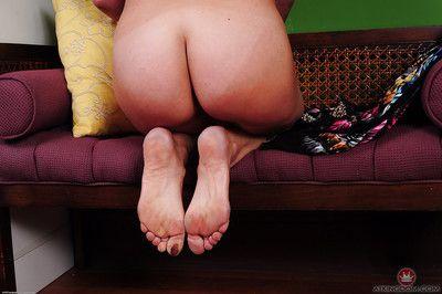 Older blonde woman Sydney fondling her over 50 MILF breasts