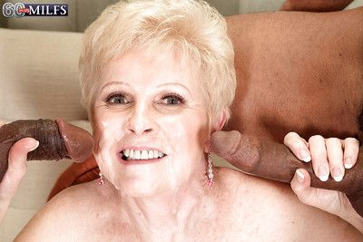 Lusty granny Jewel sucking off 2 black men at same time