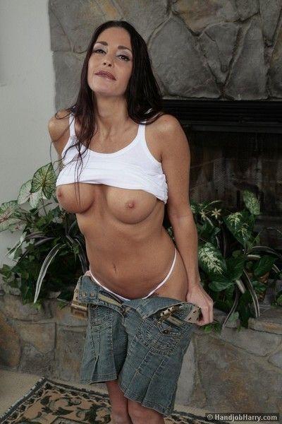 Slim big titted brunette milf Cheyenne Hunter strokes big cock with her hands