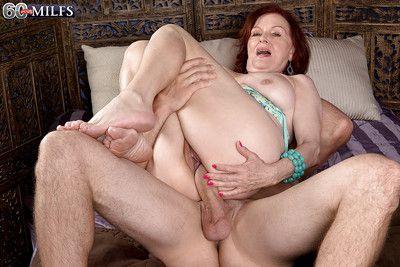 Granny pornstar Katherine Merlot loosing saggy boobs before sex with big cock