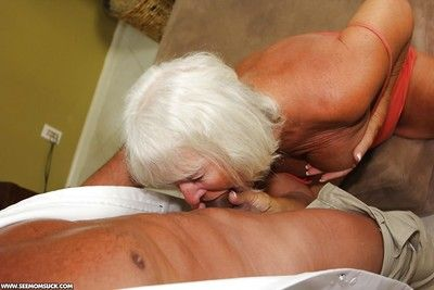 Lusty granny gives a great blowjob and gets a facial cumshot