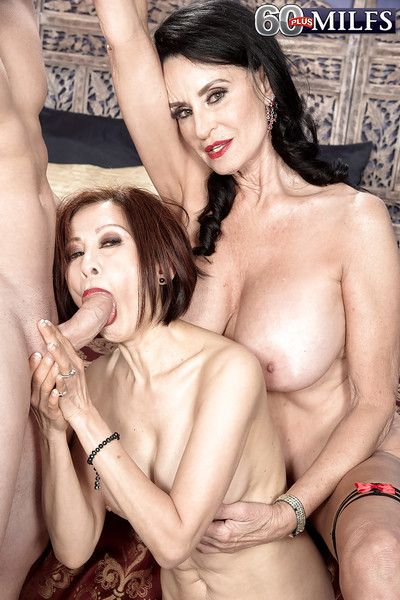 Brunette nan Rita Daniels and cock sucking girlfriend take anal in threesome
