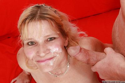Slutty granny gives a blowjob and receives a creamy facial cumshot