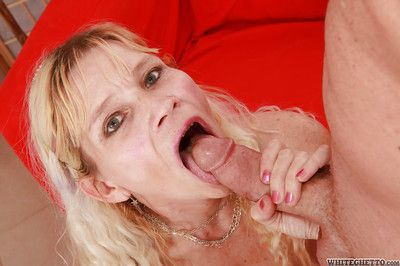Slutty granny gives a blowjob and receives a creamy facial cumshot