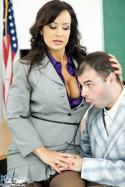 Big meloned MILF teacher Lisa Ann ride son top of big ahrd cock in the classroom