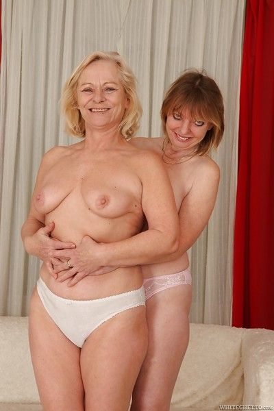 Lecherous chubby grannies have some lesbian fun using their sex toys