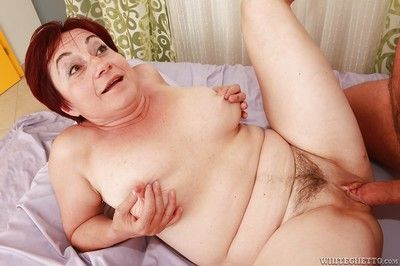 Lustful busty granny gives a blowjob and gets pounded hardcore