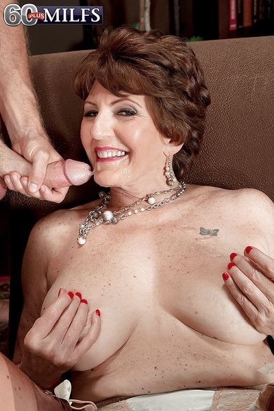 Naughty grandma Bea Cummins giving oral sex after seducing younger man