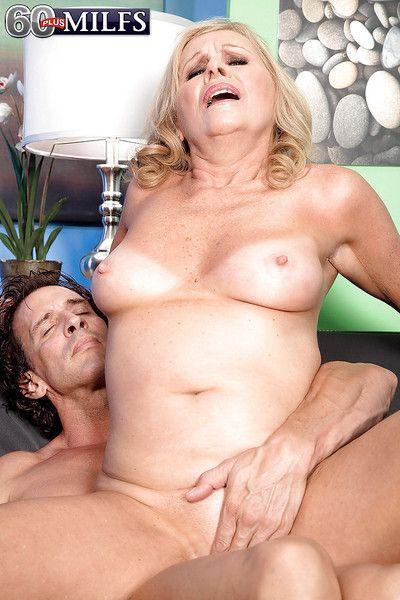 Seductive granny Bethany James sucks and fucks a hard white dick