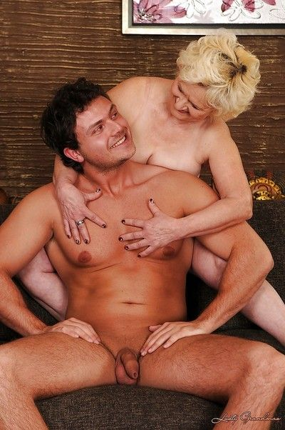 Cock starving granny gets shagged and facialized by a younger lad