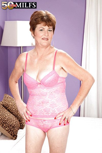 Naughty granny with flabby tits Allura James playing with a young cock