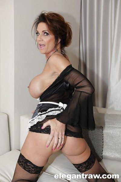 Mature maid Deauxma masturbating while showing off massive juggs
