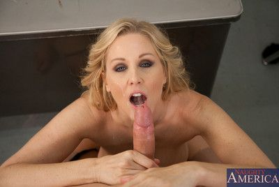 Milf in stockings Julia Ann is in the office getting pussy and mouth filled by young stuff